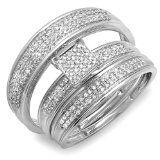 0.50 Carat (ctw) 10k White Gold Round Diamond Mens & Womens Micro Pave Engagement Ring Trio Bridal Wedding Band Set / http://www.realweddingday.com/0-50-carat-ctw-10k-white-gold-round-diamond-mens-womens-micro-pave-engagement-ring-trio-bridal-wedding-band-set