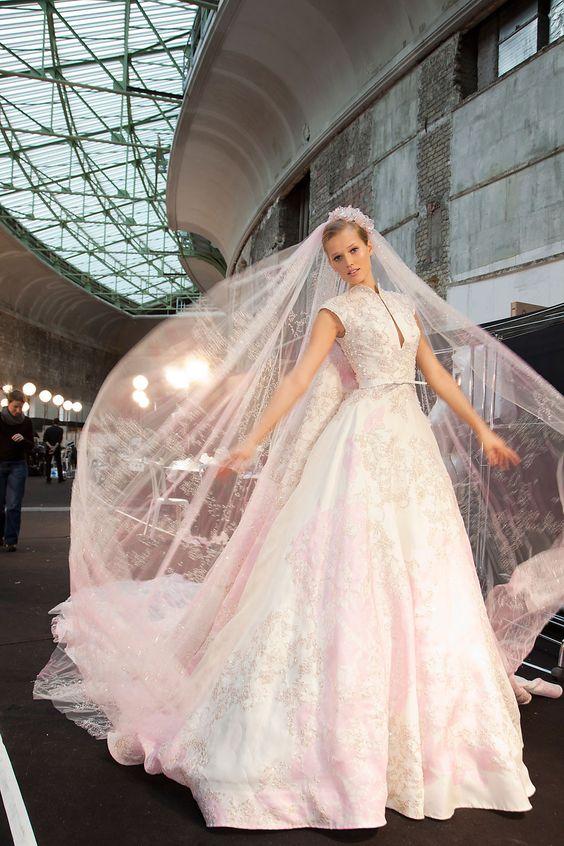 Toni Garrn in a wedding dress at Elie Saab Spring 2012 Couture backstage