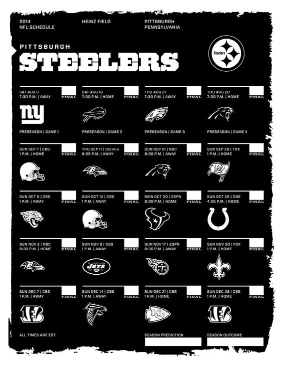 Pittsburgh Steelers 2014 NFL Schedule