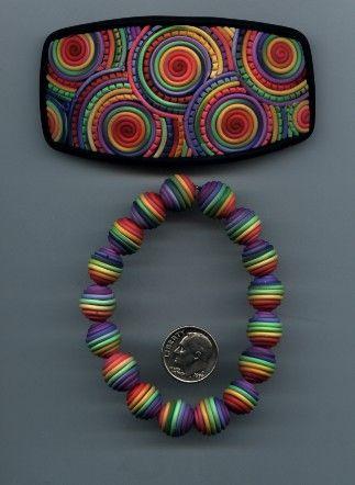 Tutoriel : Comment faire une barrette et un bracelet perle arc-en-ciel en Fimo - Le blog de Miss Kawaii