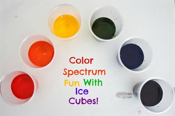 Color mixing with cups of water...