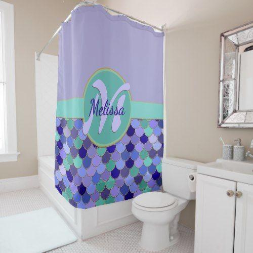 Light Purple Aqua Monogram Name Mermaid Scales Shower Curtain