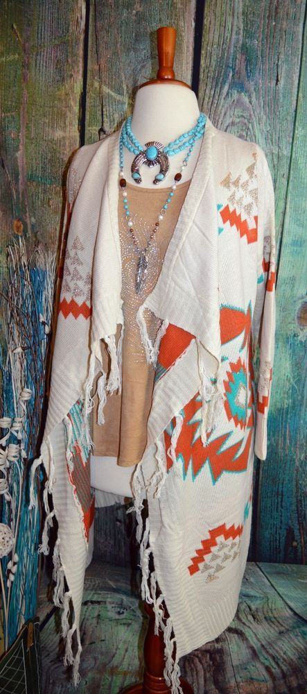 IN STOCK!! SANTA FE AZTEC CARDIGAN Fringe Boho Jacket Cowgirl Gypsy Western Southwest S/M…
