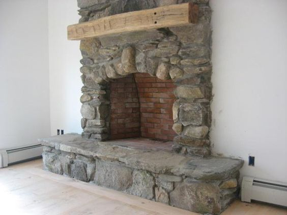 stone hearth | Stone Fireplace Hearth Vermont field stone fireplace