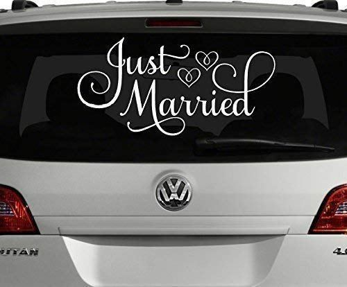 Vinylwritten Just Married Car Decal White 24 W X 12 H Just Married Window Sticker Lovely Novelty Just Married Sign Just Married Car Wedding Signs Decals