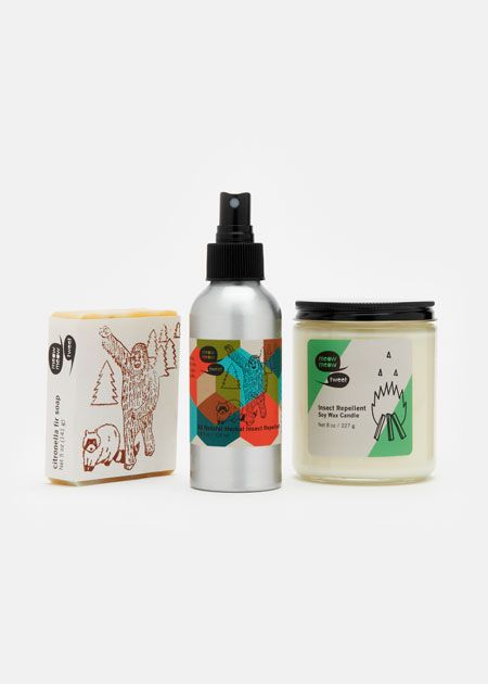 100 Best #Christmas #Gift #Ideas | Meow Meow Tweet Camper's Gift Set is a 3-piece toiletry kit that includes an effective, non-toxic herbal insect repellent, a naturally antiseptic, woodsy-scented citronella fir bar soap, and a non-toxic, sustainable soy wax and insect-repelling citronella candle