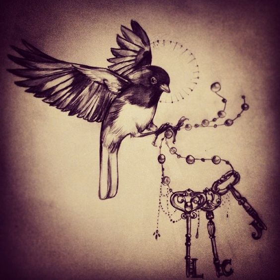 Finch and keys by @milky_tattoodles on instagram