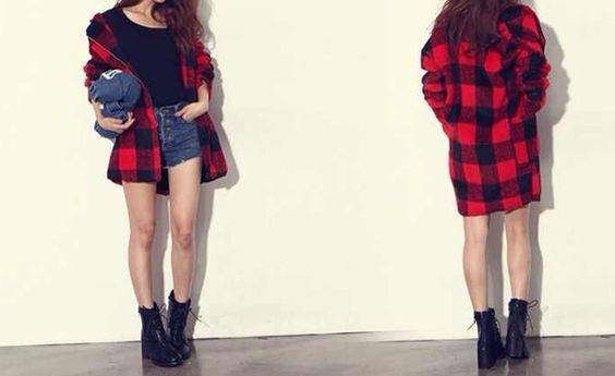 Checked Pattern Pockets Zippers Thickened Worsted Color Matching Coat For Women (RED,ONE SIZE)   Sammydress.com