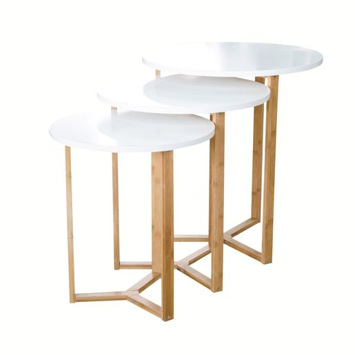 Lot De 3 Tables Gigogne Mdf Et Bambou 50 X 50 X H50 Cm Blanc Et Marron Tables Gigognes Meuble Chambre A Coucher Meuble Deco