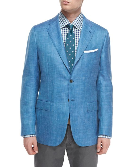 Cashmere-Blend Two-Button Blazer, Light Blue