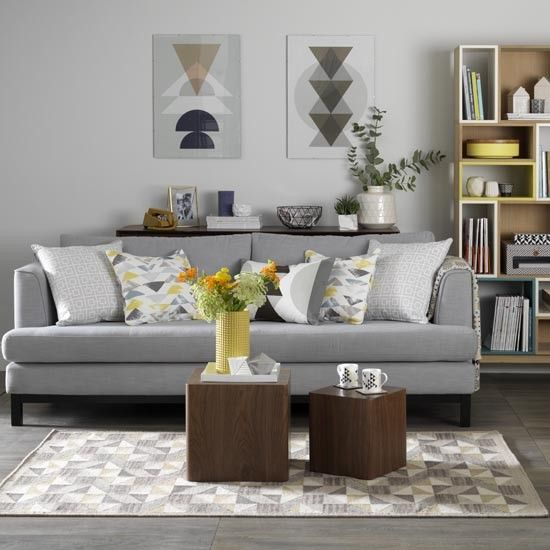 Cool Gray Living Room Grey With Retro Textiles Shades Mustard Teal