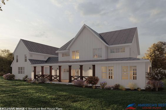 House Plan 6849 00064 Modern Farmhouse Plan 4 357 Square Feet 5 Bedrooms 5 Bathrooms In 2020 Modern Farmhouse Plans Farmhouse Plans Craftsman House Plans