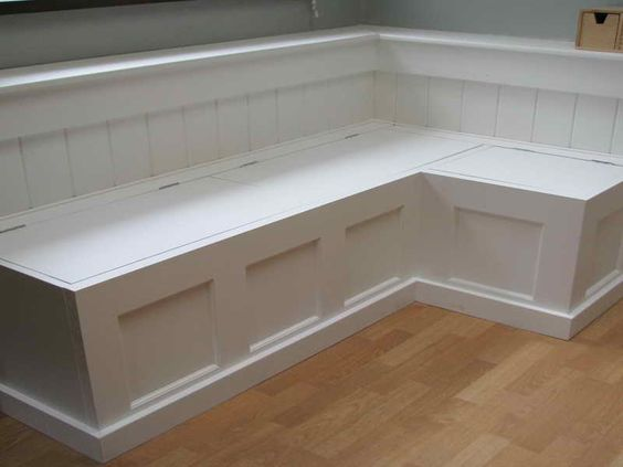 Banquettes banquette seating and corner storage bench on pinterest - Kitchen banquette with storage ...