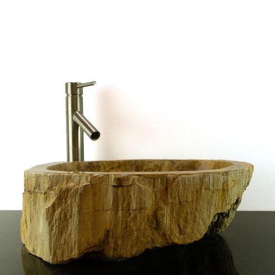 Basin Vessel Sink For Bathroom Counter Top In Petrified Wood Petdd 11 Bathroom Countertops Vessel Sink Bathroom Counters