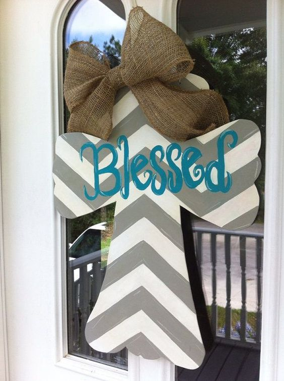 Painted wooden Cross Door Hanger with ribbon and Blessed chevron design.