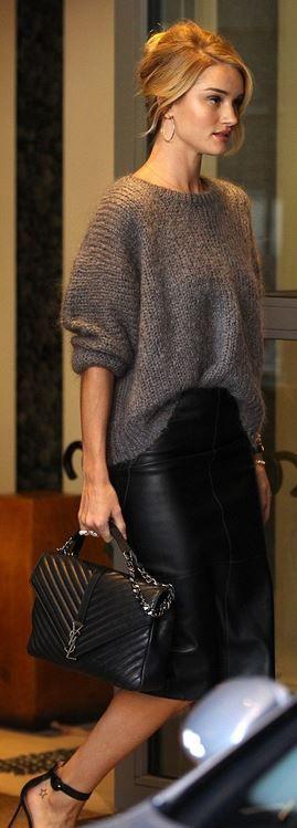 Rosie Huntington-Whiteley: Bracelet – Anita Ko  Skirt – Marks and Spencer  Purse – Saint Laurent  Shoes – Gianvito Rossi
