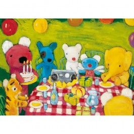 Penelope's Birthday Party. 12-Piece Wooden Jigsaw Puzzle made in France. The perfect first puzzle for 3- to 5-year olds!