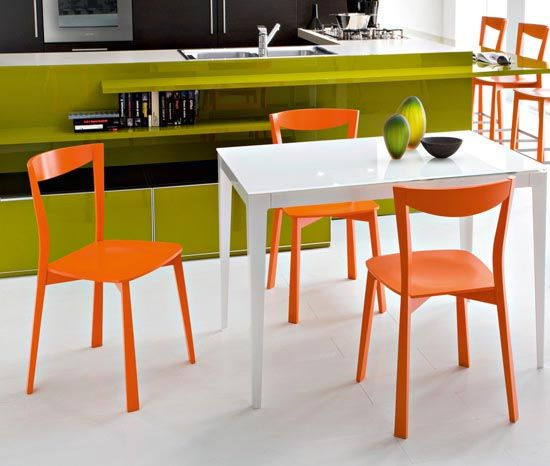 modern bright chairs for dining room - orange-green-white