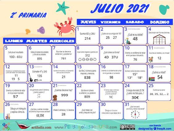 Calendario Segundo ABN – Julio 2021