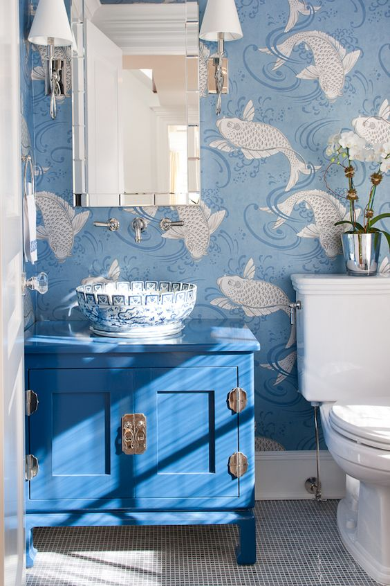 Koi Fish Wallpaper + Kang Style Sink Console + Blue Porcelain Sink Bowl: