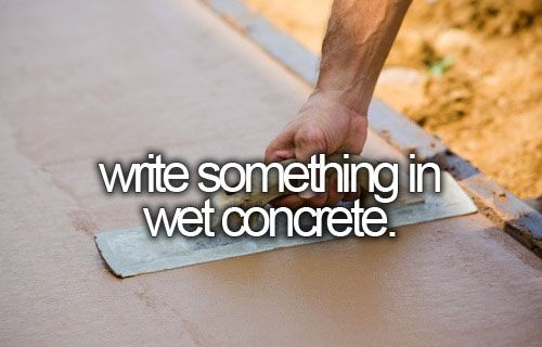 write something in wet concrete