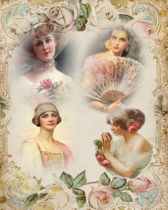 Beige femme style vintage