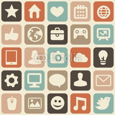 Vector sin patrón con iconos de medios sociales  Flat