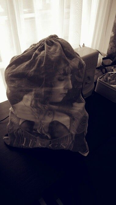Florence and the Machine drawstring bag made from 2 t-shirts and some ribbon!!!
