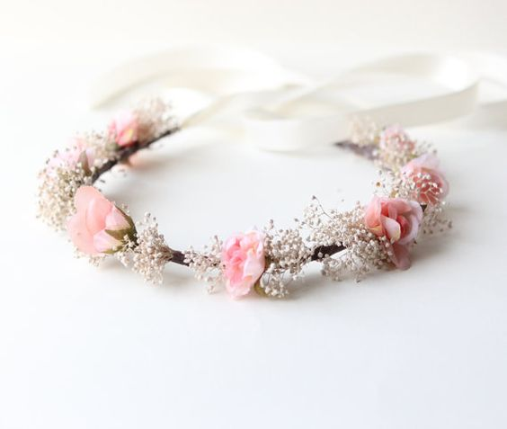 Bridal hair wreath Pink flower crown with baby's by whichgoose, $65.00