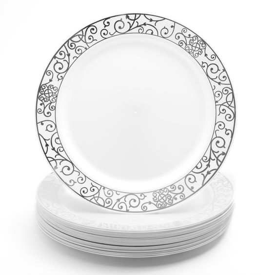 24 Pack Dinner Plates - 10 inch White with Silver Swirl Pattern