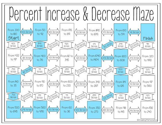 math worksheet : percent increase and decrease task cards  math activities math  : Percent Increase And Decrease Worksheet