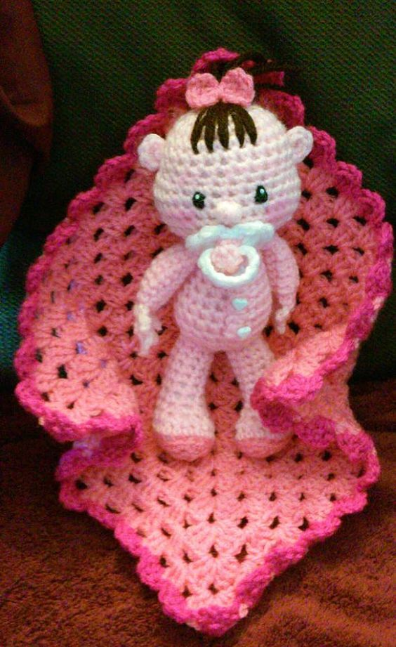 Crochet Amigurumi 9 Inch Baby Doll With Blankie Pattern ...