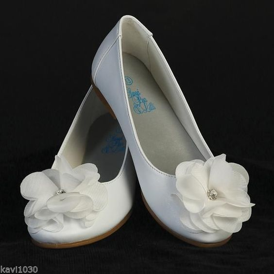 Details about Girls WHITE Dress Shoes FLATS Flower &amp Rhinestone ...