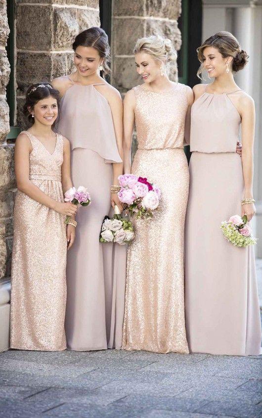 Floor Length Chiffon Bridesmaid Dresses Wedding Gold