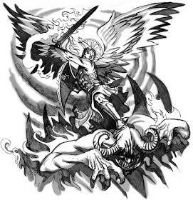 Angel Fights Demon Tattoo Design Hm Art Tattoo Demon Tattoo Tattoos Angel Demon Tattoo