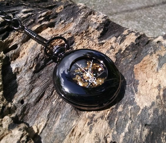 Sleek black exposed gear, mechanical pocket watch. Free Shipping within the US