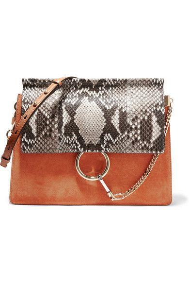chloe elsie small shoulder bag - CHLO�� Faye Medium Python, Suede And Leather Shoulder Bag. #chlo�� ...