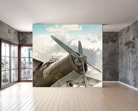 Wall mural vintage old airplane wall paper for Aeroplane wall mural