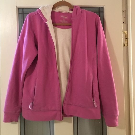 LL bean sweatshirt Pink LL bean sweatshirt zipper up and hoodie color pink like new used once or twice LL bean Sweaters Cardigans