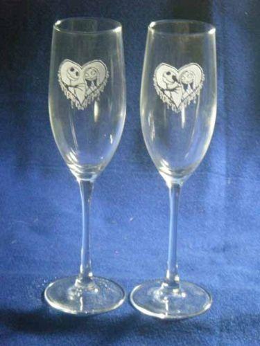 Nightmare Before Christmas Jack Sally Wedding Glasses