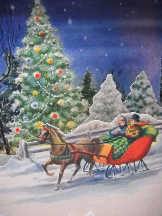 Ca 1940s 3D Christmas Card of a One Horse Open by HolidayLegacies, $12.50