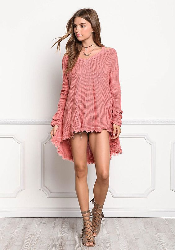 Salmon Sweater Knit Cold Shoulder Top