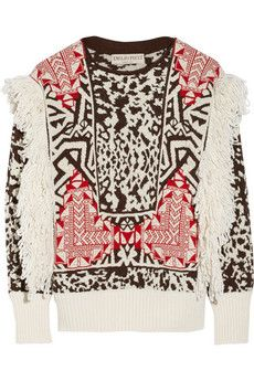 Emilio Pucci Fringed jacquard-knit sweater | THE OUTNET
