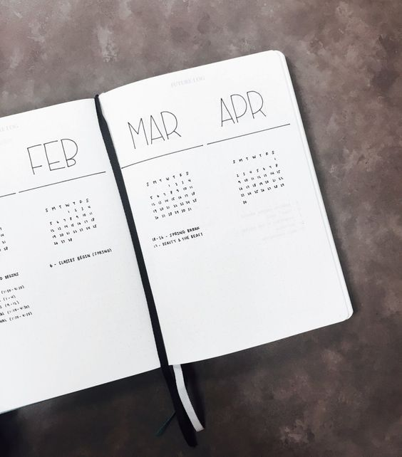 Future Log Inspiration from The Illustrated Bullet Journal of Sarah from @luckyletters