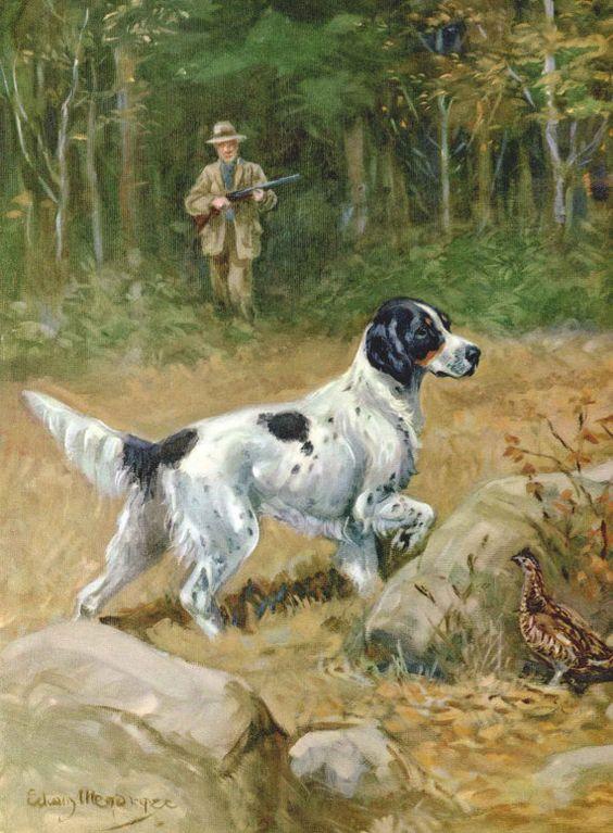 English Setter Vintage Dog Print Edwin Megargee by RoxyRani: