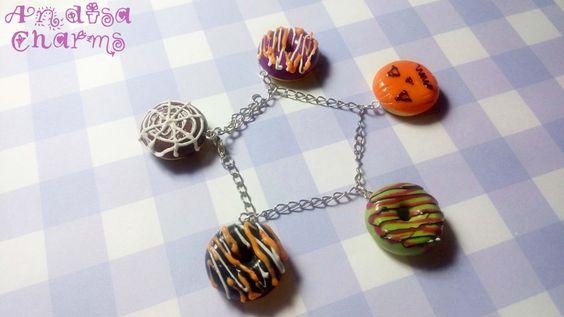 Halloween Donut Bracelet Handmade Jewelry by AndisaCharmsShop, $32.00