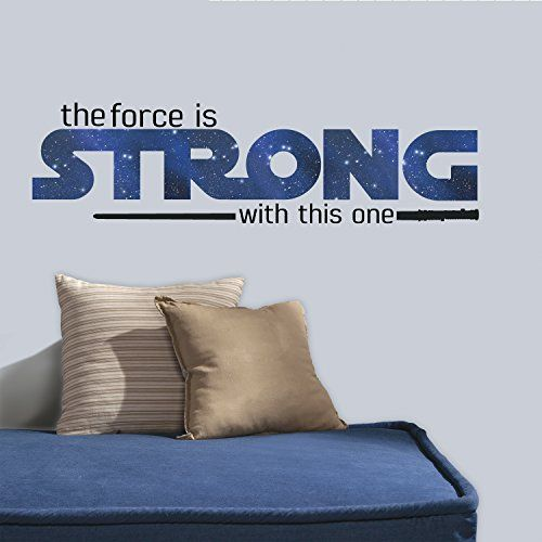 """RoomMates RMK3077SCS Star Wars Classic The Force is Strong P&S Wall Decals, 35.25"""" x 10"""""""
