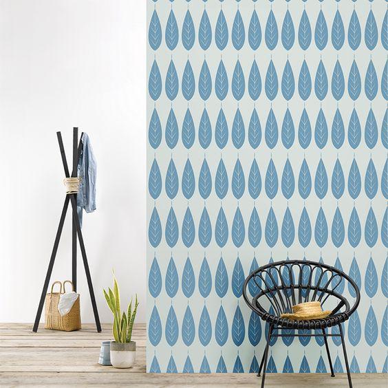 Roomblush behang wallpaper botanica blue behangpapier woonkamer ...