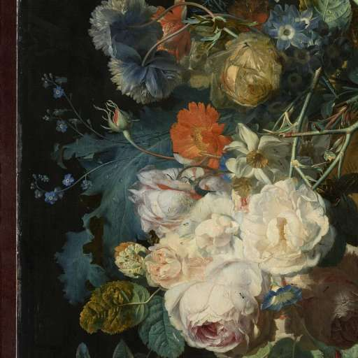 Detail of Still Life with Flowers and Fruit by Jan van Huysum, Rijksmuseum. (check out how to access the full thing via the Rijksstudio - I understand it should be free to use)