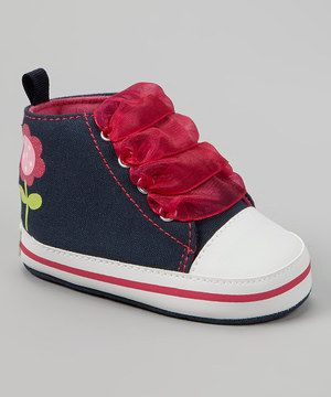 Look what I found on #zulily! Gerber Childrenswear Navy & Pink Flower Hi-Top Sneaker by Gerber Childrenswear #zulilyfinds